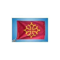 Drapeau occitan (rouge sang et jaune or) - Polyester 20 x 30 cm.