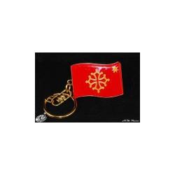 """Porte-clefs """"drapeau occitan étoile"""" en métal (3 x 4 cm)"""