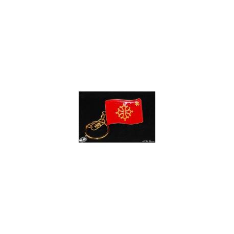 "Porta-claus ""bandiera occitana estela"" / Porte-clefs ""drapeau occitan étoile"" en métal (3 x 4 cm)"