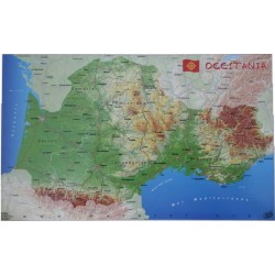 Geographic Map of Occitania - 37x60 cm