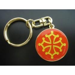 """Porte-clefs """"Croix Occitane"""" (rond métal, diam. 3 cm)"""