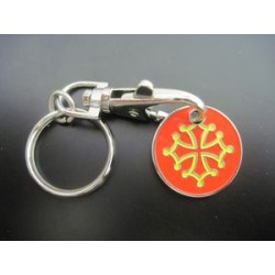 Keyring Cross Occitane metal caddy token