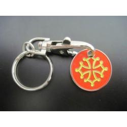 Porte-clefs Croix Occitane jeton de caddie en métal