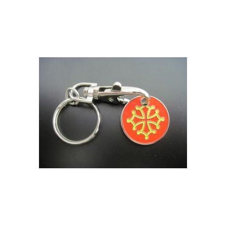 Porte-clefs Croix Occitane (jeton caddie)