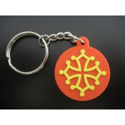 Keyring Occitan Cross in a round of plastic (PVC 3 cm)