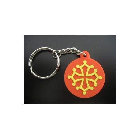 Porte-clefs Croix Occitane (rond PVC souple)