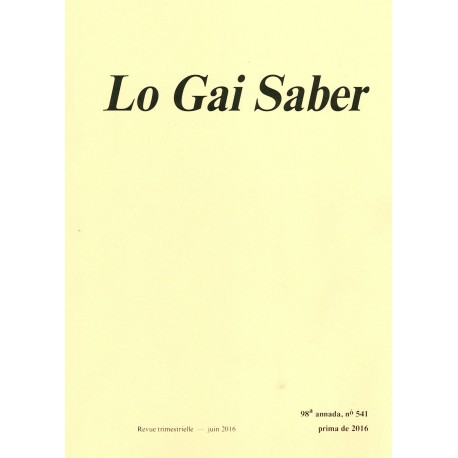 Lo Gai Saber - Abonnement (1 an) - Cobertura 2016