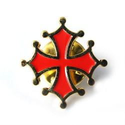 """Pin's """"Croix Occitane"""" (Émaillé rouge et bord doré – 2,0 cm)"""