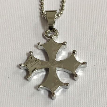 Chaîne et pendentif croix Oc pleine
