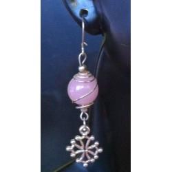 Boucles perle verre rose