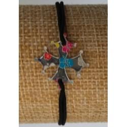 Bracelet croix occitane motif hibiscus