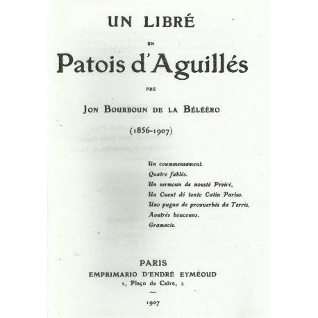 Un libre en Patois d'Aguillés - Jon Bourboun de la Béléèro - Couverture