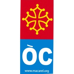 "Sticker occitan cross + ""ÒC"" blue for europe car license plates"