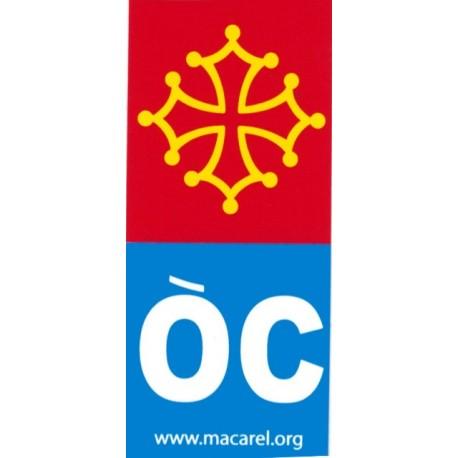 """Autocollant croix occitane + """"ÒC"""" bleu pour plaques Immatriculation"""