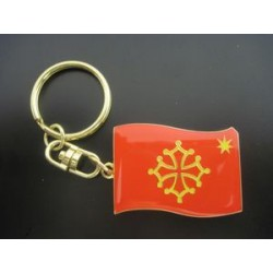 Keychains Occitan flag (with star) in metal