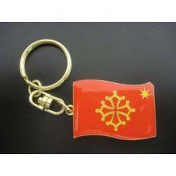 """Porta-claus """"bandiera occitana estela"""" en metau (2,5 x 3,5 cm) / Porte-clefs """"drapeau occitan étoile"""" en métal (2,5 x 3,5 cm)"""