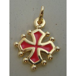 Occitan cross pendant (Blood and gold color) - 1,5 cm