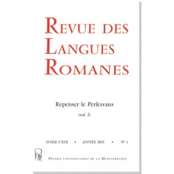 Revue des langues romanes - Subscription (1 year) - Cover
