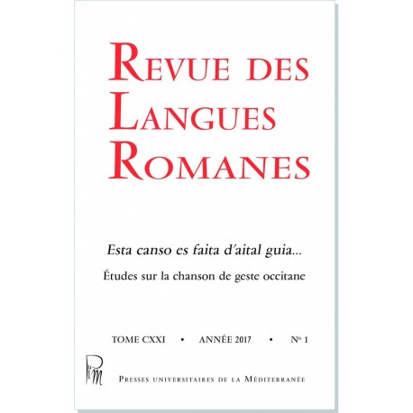 Revue des Langues Romanes - Tome 121 (2017 n°1) - Couverture