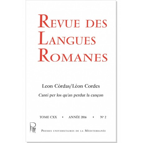 Revue des Langues Romanes - Tome 120 (2016 n°2) - Couverture