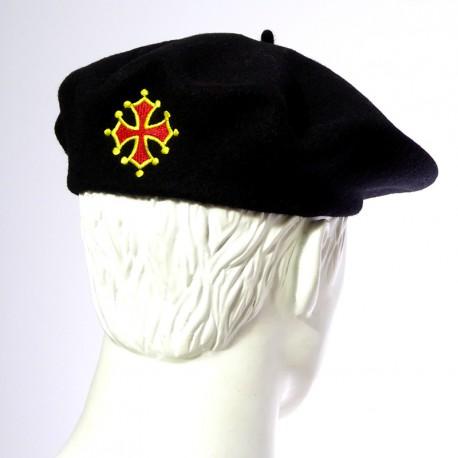Béret noir avec croix occitane arrière (Macarel)