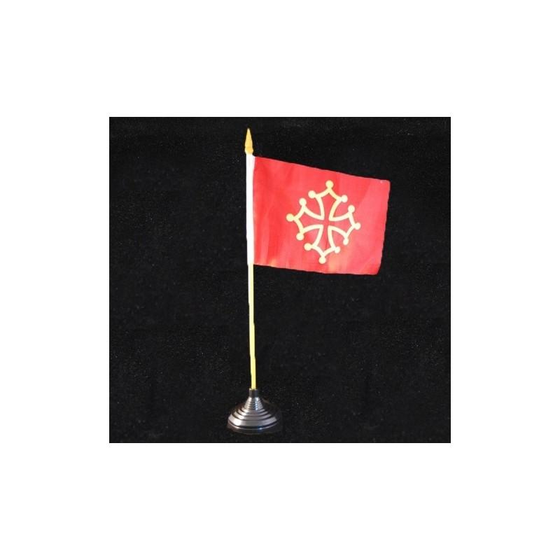 drapeau occitan de table 10x15 cm avec mat et croix occitane macarel. Black Bedroom Furniture Sets. Home Design Ideas