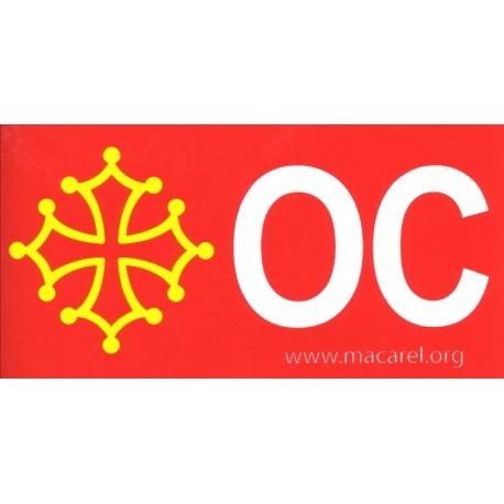Autocollant Croix + ÒC (fond rouge, croix jaune + ÒC blanc) - Macarel