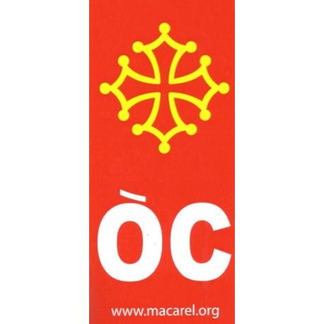 Autocollant Croix + OC pour plaques de voiture