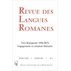 Revue des Langues Romanes - Tome 121-2 (2017 n°2) - Yves Rouquette - Cover