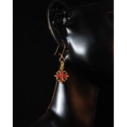 Boucles d'oreille croix occitane métal doré intérieur rouge