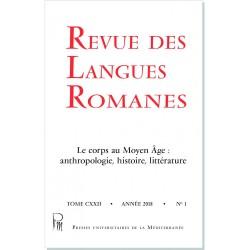 Revue des Langues Romanes - Tome 122-1 (2018 n°1)