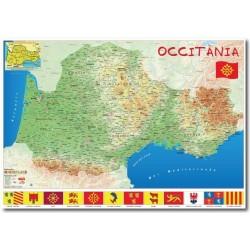 Mapa d'Occitània (Occitanie) 70 x 100 cm