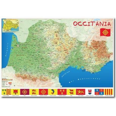 Carte Occitanie (Macarel) 70 x 100 cm