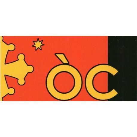 Autocollant ÒC + croix et étoile (jaune sur fond rouge et noir) - Chambra d'Òc
