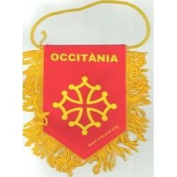 Fanion Occitània rouge avec croix Òc à accrocher