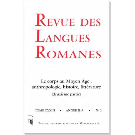 Revue des Langues Romanes - Tome 123-2 (2019 n°2)