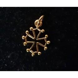 Pendentif croix occitane évidée dorée - 1,5cm