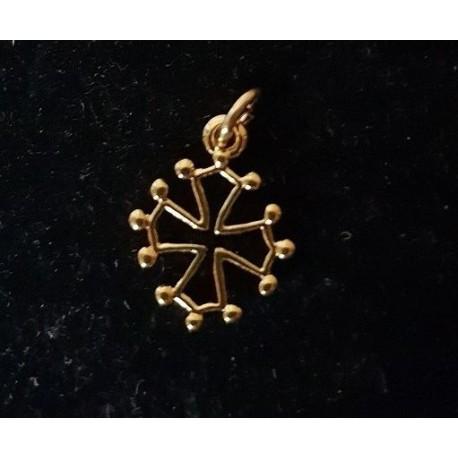 Pendentiu crotz occitana escavada daurada - 1,5cm