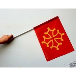 Drapeau occitan avec manche PVC - Polyester 35 x 45 cm