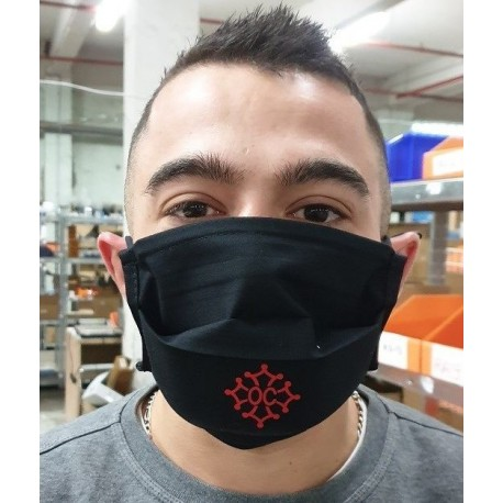Washable protective mask with Occitan cross, coton fabric