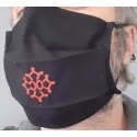Washable protective mask with Occitan cross, cotton fabric