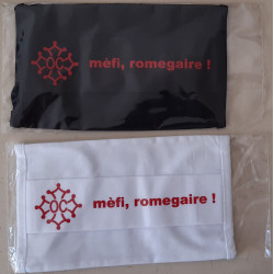 Washable protective mask with Occitan cross and text mèfi, romegaire !