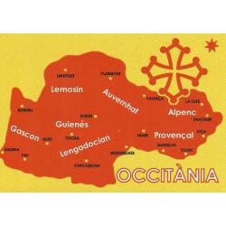 Autocollant carte d'Occitanie - Occitània rouge sur fond jaune