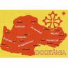 Sticker Occitània map (red on yellow background)